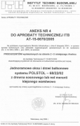 Certyfikat Instytutu Techniki Budowlanej w Warszawie z maja 2006 r.